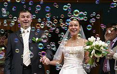 Zeepbellen bruiloft belleblazen